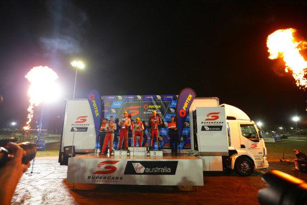 Scott McLaughlin, DJR Team Penske Ford, Fabian Coulthard, DJR Team Penske Ford, Chaz Mostert, Tickford Racing Ford