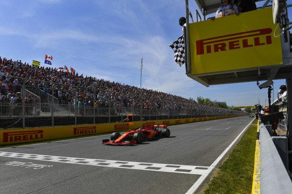 Sebastian Vettel, Ferrari SF90, 2nd position, crosses the line first