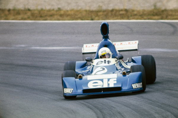 René Arnoux, Martini Mk19 Renault/Gordini, gets very sideways.