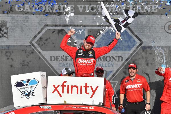 #7: Justin Allgaier, JR Motorsports, Chevrolet Camaro BRANDT Professional Agriculture celebrates in victory lane