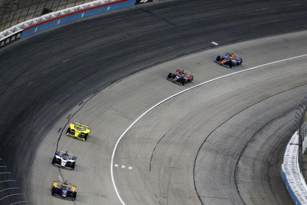 #27: Alexander Rossi, Andretti Autosport Honda, #30: Takuma Sato, Rahal Letterman Lanigan Racing Honda, #22: Simon Pagenaud, Team Penske Chevrolet