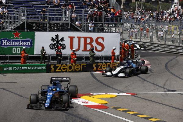 Fernando Alonso, Alpine A521 , leads George Russell, Williams FW43B