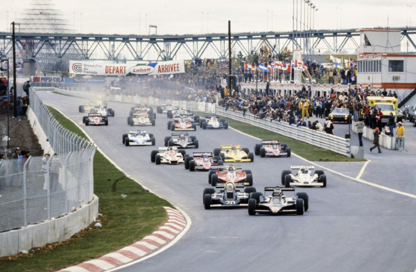 Pole sitter Jean-Pierre Jarier, Lotus 79 Ford leads Jody Scheckter, Wolf WR5 Ford, Gilles Villeneuve, Ferrari 312T3 and Alan Jones, Williams FW06 Ford.