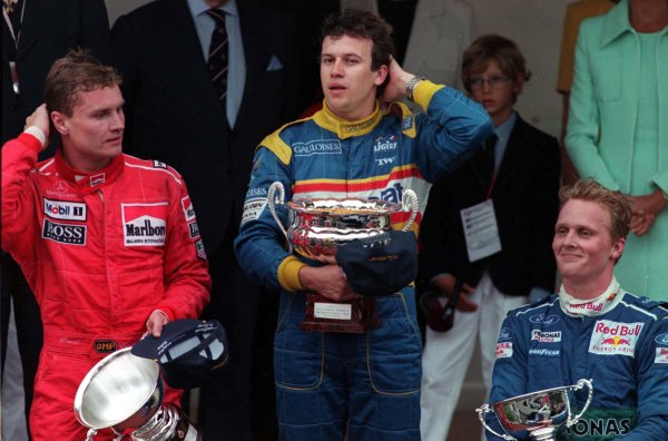 Monaco Grand Prix.Monte Carlo, Monaco.16-19 May 1996Olivier Panis (Ligier Mugen-Honda), David Coulthard (McLaren Mercedes-Benz) and Johnny Herbert (Sauber Ford) after finishing in 1st, 2nd and 3rd positions respectively.World Copyright - LAT Photographic