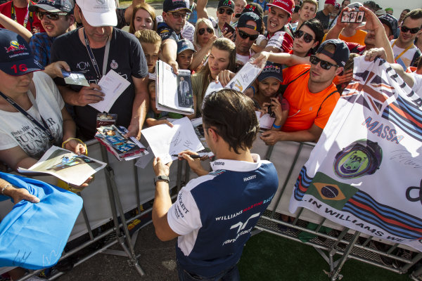 Felipe Massa (BRA) Williams signs autographs for the fans at Formula One World Championship, Rd9, Austrian Grand Prix, Preparations, Spielberg, Austria, Thursday 6 July 2017.