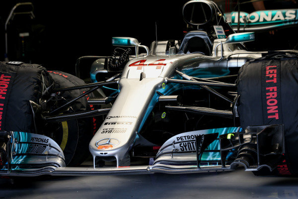 The car of Lewis Hamilton (GBR) Mercedes-Benz F1 W08 Hybrid in the garage at Formula One World Championship, Rd10, British Grand Prix, Race, Silverstone, England, Sunday 16 July 2017.