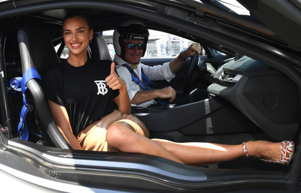 Alejandro Agag, CEO, Formula E and model Irina Shayk in the BMW i8 Safety car