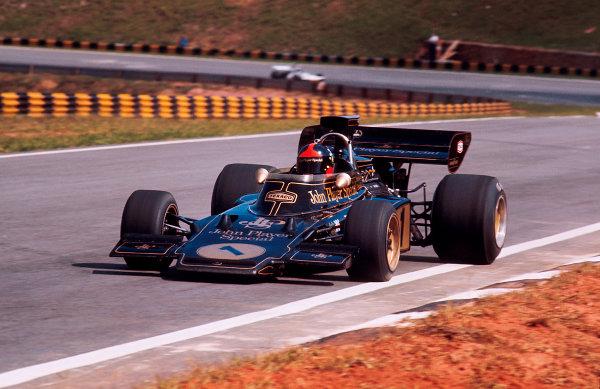 1973 Brazilian Grand Prix.Interlagos, Sao Paulo, Brazil.9-11 February 1973.Emerson Fittipaldi (Lotus 72D Ford) 1st position.Ref-73 BRA 35.World Copyright - LAT Photographic