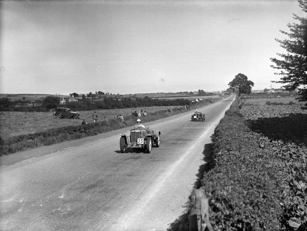 Kenneth Evans, D. G. Evans, MG Magnette NE, leads Arthur Dobson, Fiat 508S.