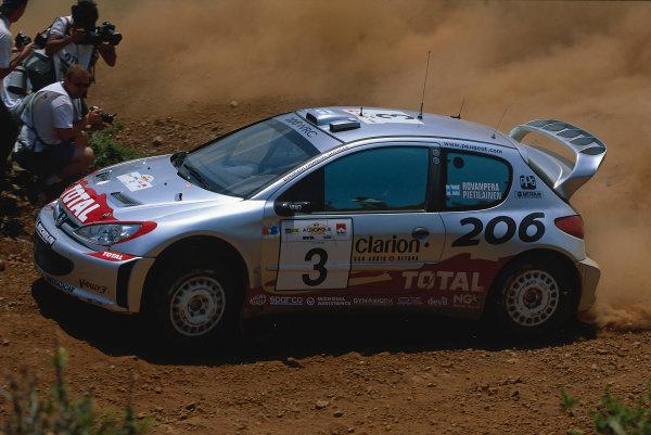 2002 World Rally ChampionshipAcropolis Rally, Greece. 13th - 16th June 2002.Harri Rovanpera/Risto Pietilainen, Peugeot 206 WRC, action.World Copyright: McKlein/LAT Photographicref: 35mm Image A15