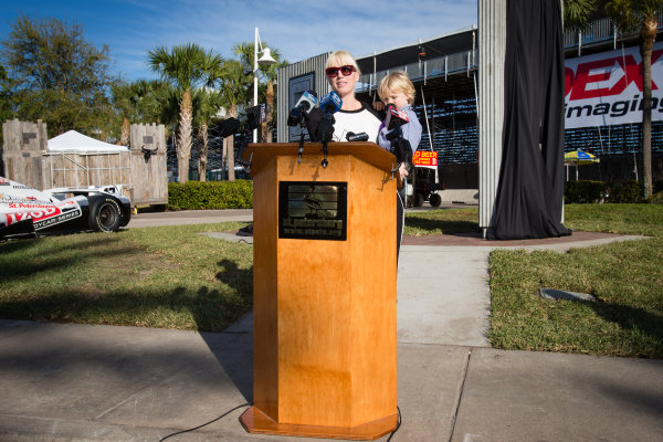 Dan Wheldon Memorial and Victory Circle unveiling ceremony: Susie Wheldon and son Sebastian