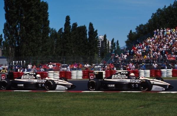 Tyrrell team mates, Stefano Modena and Satoru Nakajima,  Tyrrell 020,  Canadian Grand Prix, Montreal, 2 June 1991