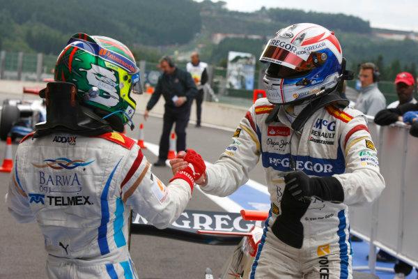 Spa - Francorchamps, Spa, Belgium. 29th August.Sunday Race.Sergio Perez (MEX, Barwa Addax Team) celebrates his victory with Giedo Van der Garde (NED, Barwa Addax Team). Photo: Charles Coates/GP2 Media Service.Ref: __26Y5720 jpg