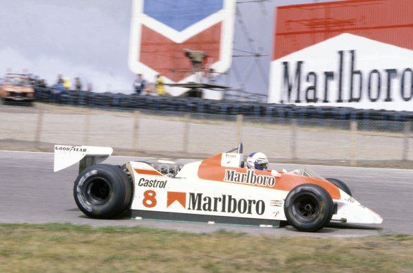 1980 Dutch Grand Prix.Zandvoort, Holland. 29-31 August 1980.Alain Prost (McLaren M30-Ford Cosworth), 6th position.World Copyright: LAT PhotographicRef: 35mm transparency 80HOL07