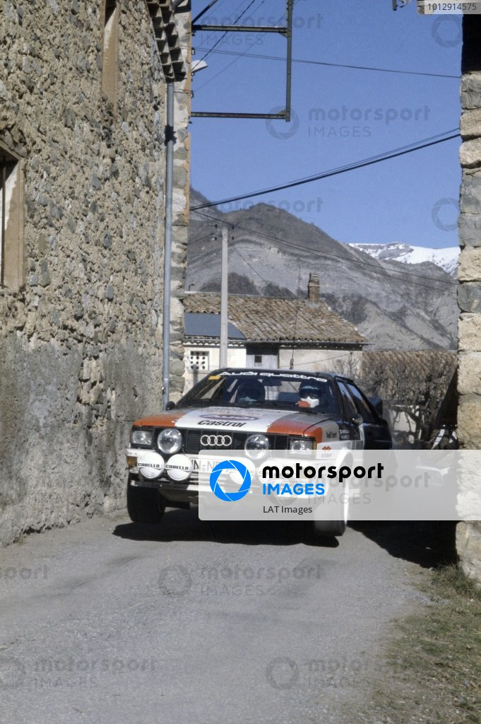 1982 World Rally Championship.Monte Carlo Rally, Monaco. 16-22 January 1982.Hannu Mikkola/Arne Hertz (Audi Quattro), 2nd position.World Copyright: LAT PhotographicRef: 35mm transparency 82RALLY10
