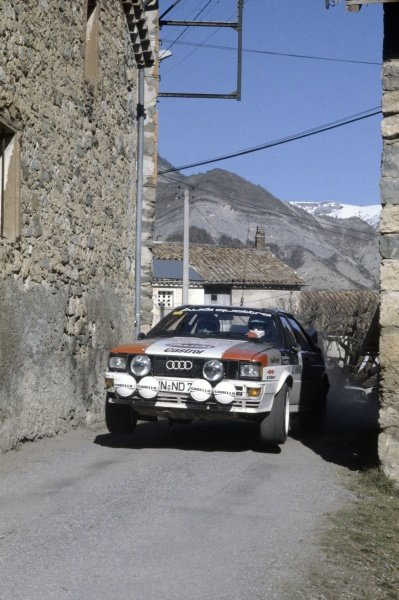 1982 World Rally Championship.Monte Carlo Rally, Monaco. 16-22 January 1982.Hannu Mikkola/Arne Hertz (Audi Quattro), 2nd position.World Copyright: LAT PhotographicRef: 35mm transparency 82RALLY10