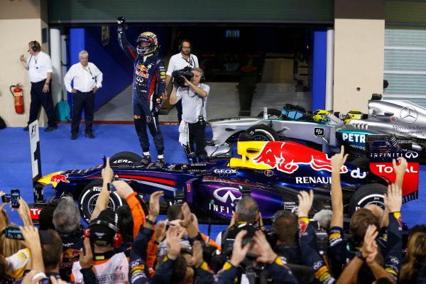 Yas Marina Circuit, Abu Dhabi, United Arab Emirates. Sunday 3rd November 2013. Sebastian Vettel, Red Bull Racing, 1st position, celebrates in Parc Ferme. World Copyright: Steven Tee/LAT Photographic. ref: Digital Image _14P5861