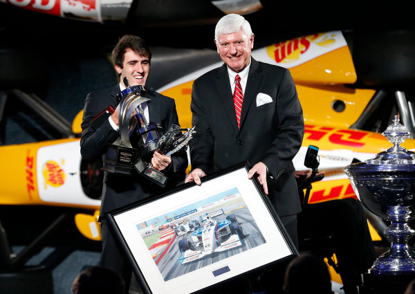 6 December, 2012, Indianapolis, Indiana, USA Greg Moore legacy award winner and Indy Lights Champion Tristan Vautier with Al Speyer .(c) 2012, Russ Labounty LAT Photo USA