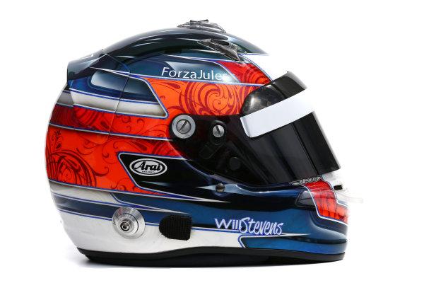 Albert Park, Melbourne, Australia. Helmet of Will Stevens, Manor Marussia F1.  Thursday 12 March 2015. World Copyright: LAT Photographic. ref: Digital Image 2015_Helmet_048