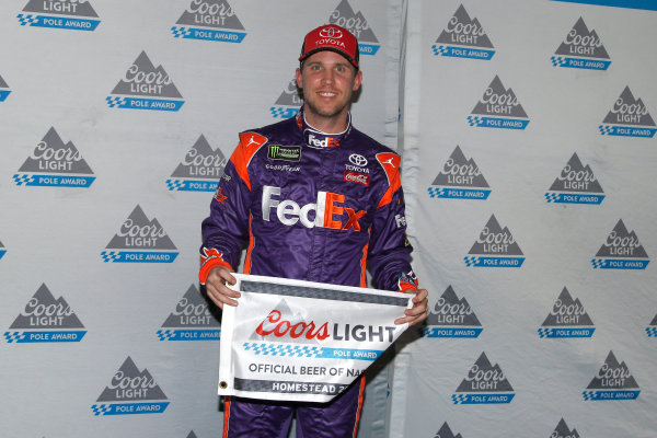 Monster Energy NASCAR Cup Series Ford EcoBoost 400 Homestead-Miami Speedway, Homestead, FL USA Friday 17 November 2017 Denny Hamlin, Joe Gibbs Racing, FedEx Express Toyota Camry pole award World Copyright: Lesley Ann Miller LAT Images