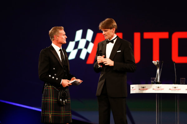 2017 Autosport Awards Grosvenor House Hotel, Park Lane, London. Sunday 3 December 2017. David Coulthard interviews Marcus Gronholm. World Copyright: Joe Portlock/LAT Images Ref: Digital Image _o3i7011