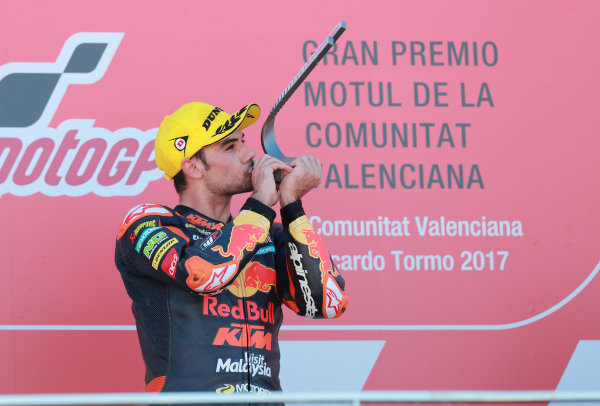 2017 Moto2 Championship - Round 18 Valencia, Spain  Sunday 12 November 2017 Podium: Race winner Miguel Oliveira, Red Bull KTM Ajo  World Copyright: Gold and Goose Photography/LAT Images  ref: Digital Image 706060