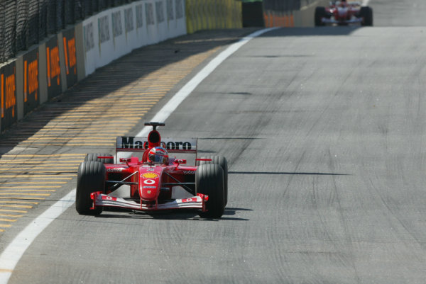 2002 Brazilian Grand Prix - Sunday RaceInterlagos, Sao Paulo. 31st March 2002Rubens Barrichello (Ferrari F2001).World Copyright - LAT Photographicref: Digital File Only
