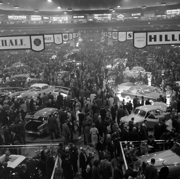 View over the show hall including the Vauxhall and Hillman stands.