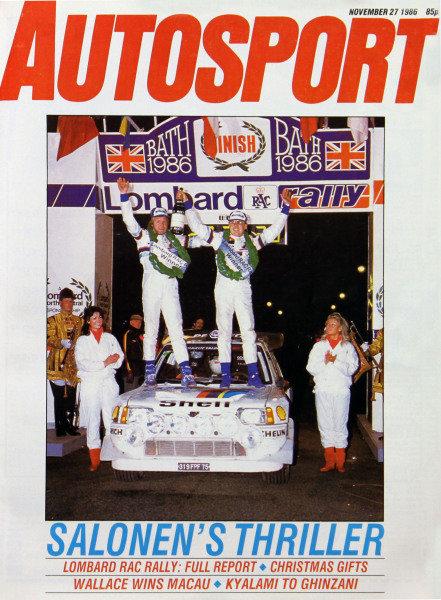 Cover of Autosport magazine, 27th November 1986