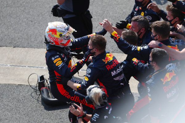 Max Verstappen, Red Bull Racing, celebrates with his team in parc ferme