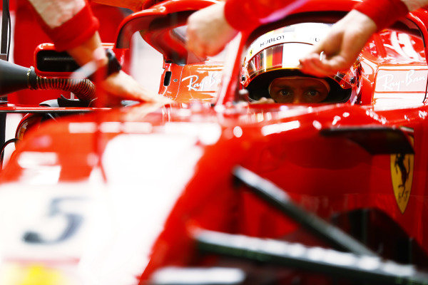 Sebastian Vettel, Ferrari SF71H, prepares to leave the garage