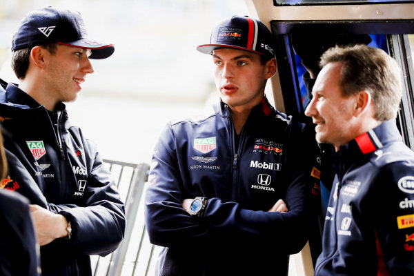 Pierre Gasly, Red Bull Racing, Max Verstappen, Red Bull Racing and Christian Horner, Team Principal, Red Bull Racing on the way to the Federation Square event.
