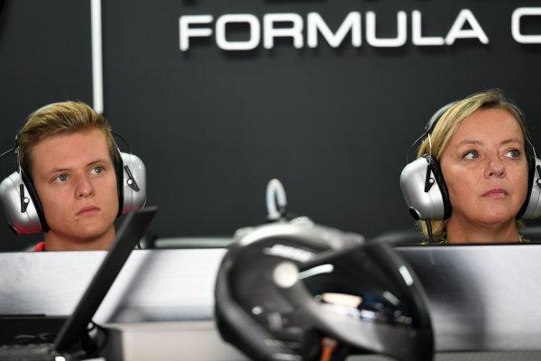 Mick Schumacher (GER) and Sabine Kehm (GER) at Formula One World Championship, Rd12, German Grand Prix, Practice, Hockenheim, Germany, Friday 29 July 2016. BEST IMAGE