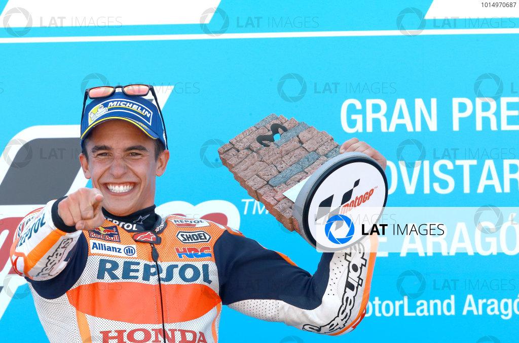 2017 MotoGP Championship - Round 14 Aragon, Spain. Sunday 24 September 2017 Podium: Race winner Marc Marquez, Repsol Honda Team World Copyright: Gold and Goose / LAT Images ref: Digital Image 14194
