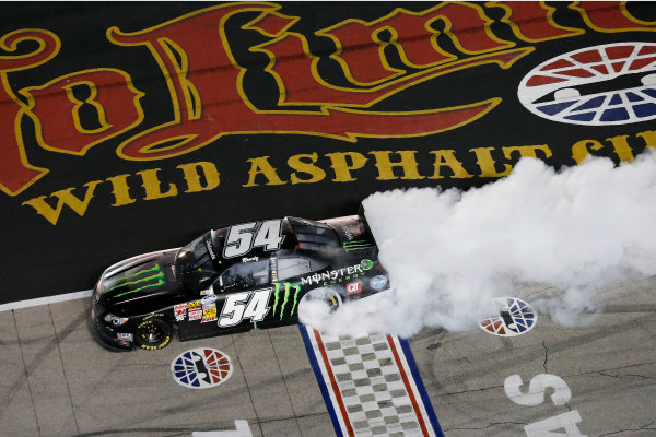 11-12 April, 2013, Fort Worth, Texas, USA Winner Kyle Busch does a burnout © 2013, Michael L. Levitt LAT Photo USA.