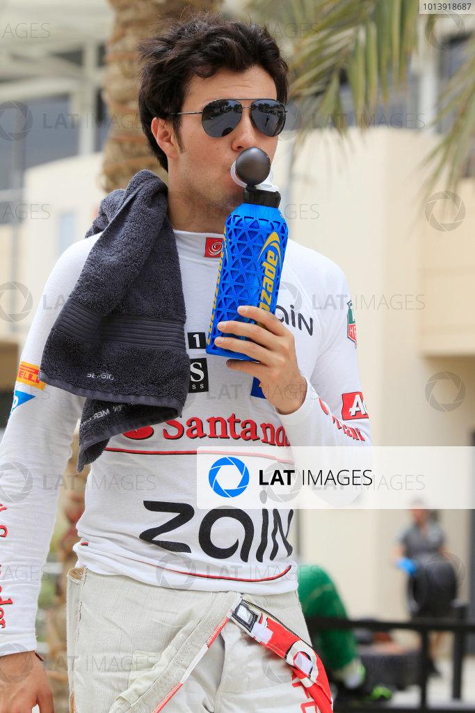 Bahrain International Circuit, Sakhir, Bahrain Friday 19th April 2013 Sergio Perez, McLaren.  World Copyright: Charles Coates/LAT Photographic ref: Digital Image _X5J2886