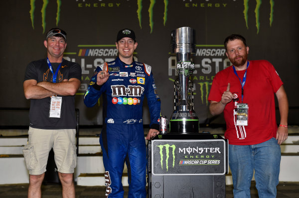 Monster Energy NASCAR Cup Series Monster Energy NASCAR All-Star Race Charlotte Motor Speedway, Concord, NC USA Saturday 20 May 2017 Kyle Busch, Joe Gibbs Racing, M&M's Caramel Toyota Camry celebrates his win in Victory Lane World Copyright: Nigel Kinrade LAT Images ref: Digital Image 17CLT1nk07366