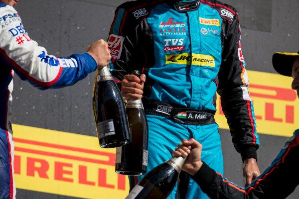 2017 GP3 Series Round 1.  Circuit de Catalunya, Barcelona, Spain. Sunday 14 May 2017. Dorian Boccolacci (FRA, Trident), Arjun Maini (IND, Jenzer Motorsport), Alessio Lorandi (ITA, Jenzer Motorsport)  Photo: Zak Mauger/GP3 Series Media Service. ref: Digital Image _54I9571