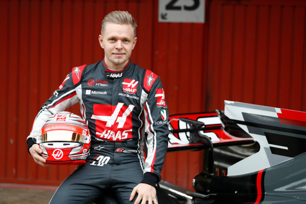 HAAS F1 Car Formula 1 Launch. Barcelona, Spain  Monday 27 February 2017. Kevin Magnussen, Haas F1.  World Copyright: Dunbar/LAT Images Ref: _31I9991