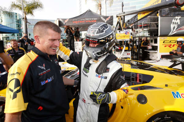 2017 IMSA WeatherTech SportsCar Championship BUBBA burger Sports Car Grand Prix at Long Beach Streets of Long Beach, CA USA Friday 7 April 2017 3, Chevrolet, Corvette C7.R, GTLM,  Jan Magnussen celebrates his pole World Copyright: Michael L. Levitt LAT Images