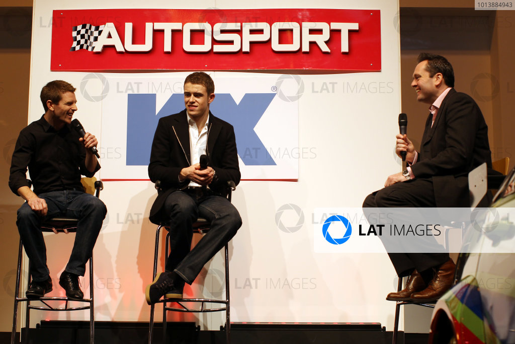 Autosport International Show NEC, Birmingham.  Saturday 12th January 2013. Anthony Davidson and Paul di Resta on stage. World Copyright:Malcolm Griffiths/LAT Photographic ref: Digital Image C76D6811