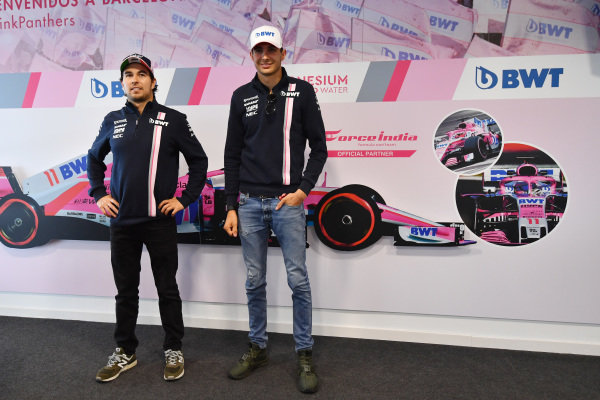 Sergio Perez (MEX) Force India and Esteban Ocon (FRA) Force India F1 at a BWT event