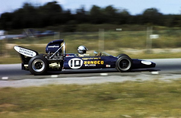 Mark Donohue (USA) Penske Racing McLaren M19A finished an excellent third on his GP debut, despite a brief spin and a stop to change his goggles.Canadian Grand Prix, Mosport Park, 19 September 1971.BEST IMAGE