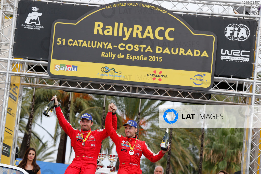 2015 World Rally Championship  Round 12, Rally of Spain, Catalunya 22nd - 25th October, 2015 Quentin Gilbert, DS, podium J-WRC  Worldwide Copyright: McKlein/LAT