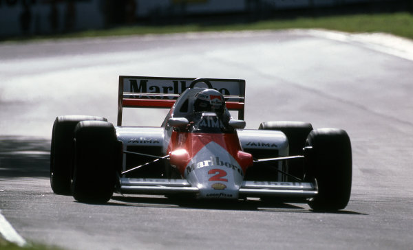 Alain Prost (FRA) McLaren MP4-2B. Formula One World Championship, Rd12, Italian Grand Prix, Monza, Italy, 8 September 1985.