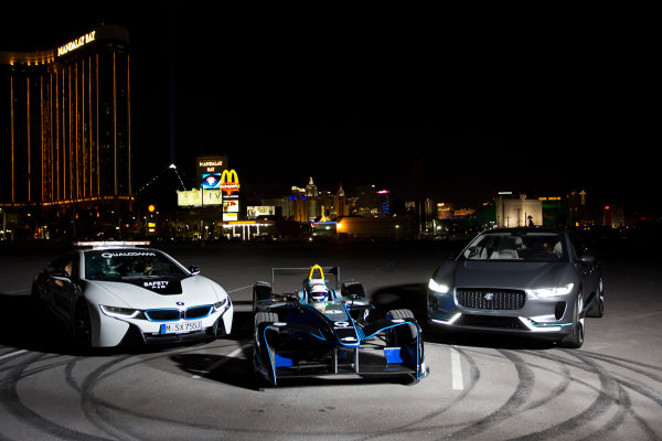 2016/2017 FIA Formula E Championship. Vegas eRace, Las Vegas, Nevada, United States of America. Thursday 5 January 2017. Sam Bird, DS Virgin Racing, parks between the BMW i8 safety-car and Jaguar I-Pace SUV. Photo: Alastair Staley/LAT/Formula E ref: Digital Image 585A1817