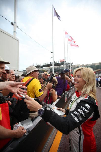 Monte Carlo, Monaco 25th May 2012 Maria de Villota, Marussia MR01 Cosworth signs autographs for fans. World Copyright:Glenn Dunbar/LAT Photographic ref: Digital Image IMG_0646
