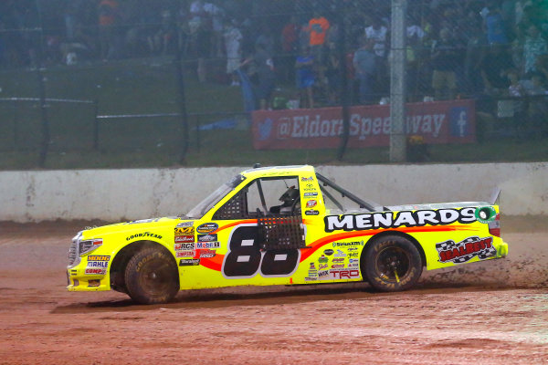 NASCAR Camping World Truck Series Eldora Dirt Derby Eldora Speedway, Rossburg, OH USA Wednesday 19 July 2017 Matt Crafton, Ideal Door / Menards Toyota Tundra celebrates his win with a burnout World Copyright: Russell LaBounty LAT Images