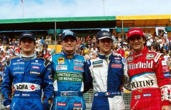 Four Italians in the race L to R, Jarno Trulli, Giancarlo Fisichella, Luca Badoer and Alex Zanardi