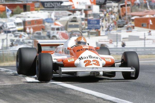 1981 Spanish Grand Prix.Jarama, Spain. 19-21 June 1981.Bruno Giacomelli (Alfa Romeo 179C), 10th position.World Copyright: LAT PhotographicRef: 35mm transparency 81ESP34